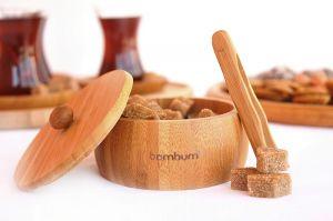 Захарница с щипка, бамбук // 10,5х10,5х5,5 см /BAM 172/