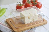 Съд за съхранение на сирене/кашкавал, бамбук/стъкло // 19,5х13х5,1 см /BAM 165/